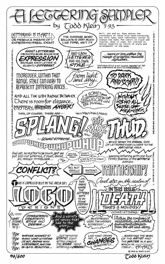 A Lettering Sampler print black and white